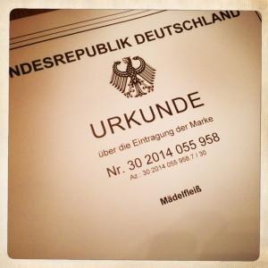"""Urkunde vom Patentamt für Wortmarke """"Mädelfleiß"""""""